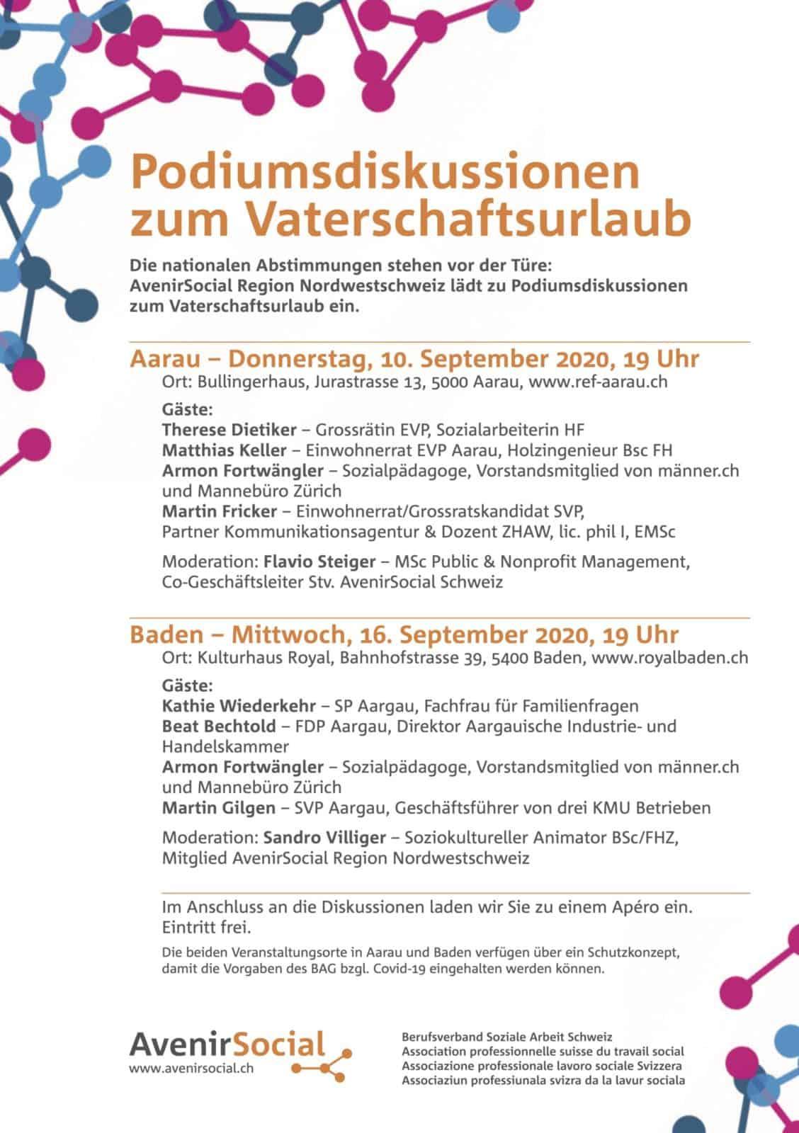 Podiumsdiskussion zum Vaterschaftsurlaub Aarau